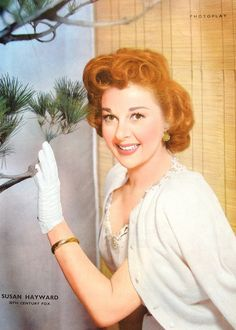 Portrait of Susan Hayward from 1950s edition of Photoplay magazine