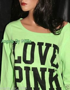New Victoria Secret Pink M Neon Lime Green Lightweight Signature Crew Sweatshirt | eBay