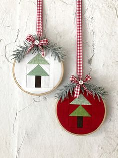 Little Christmas Sew-A-Long Sewn Christmas Ornaments, Fabric Ornaments, Christmas Sewing, Christmas Embroidery, Christmas Wood, Modern Christmas, Felt Ornaments, Little Christmas, Handmade Christmas
