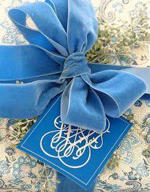 Blue and white gift wrap!!! Bebe'!!! Love the velvet ribbon!!!