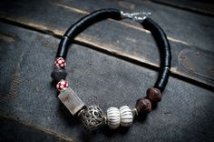 asymmetric necklace • large beads • lampwork • black vinyl • moroccan berber bead • red white grey • african beads • ethnic