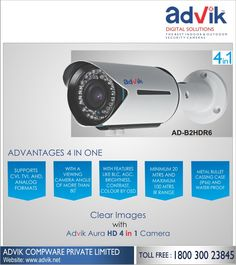 Clear Images with Advik Aura HD 4 in 1 #Camera!!! Advik's Aura HD 4 in 1 camera offers clear and great #image quality with the help of features like a viewing angle of more than 80 degrees, BLC and AGC. Its wide viewing angle helps you capture maximum detail and reduce the number of blindspots. With IP rating IP 66, it can be used for outdoor #security #surveillance as well. It is loaded with features to provide an enhanced user experience.See more information:http://bit.ly/2ltbrjK