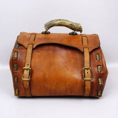 Vintage Leather Bag with Antler Horn Handle  by LivingThreadsVintage