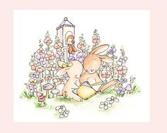 Children Art Print. Reading in the Flowers. Print por LoxlyHollow