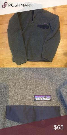 Patagonia pullover Gray and blue Patagonia snap pullover. Never worn or washed so wool material is super soft. Patagonia Other