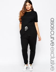 ASOS+CURVE+Casual+Jumpsuit+With+Drawstring