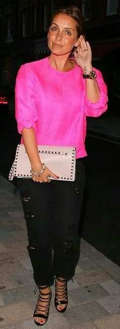 """Louise Redknapp carrying the Valentino """"Rockstud"""" flap clutch SPRING-SUMMER 2014 COLLECTIONS"""