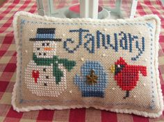 Lizzie Kate January themed cross stitch pillow ornament