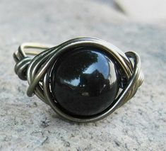 Black Pearl Ring Swarovski Crystal Pearl Wire by DistortedEarth, $12.00