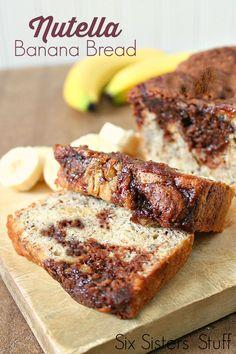 Nutella Banana Bread on SixSistersStuff.com - this bread is my new favorite banana bread recipe!