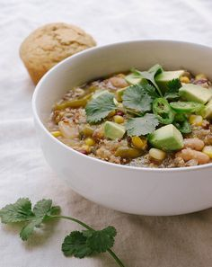 QUINOA CHILI VERDE... Green is good! Filled with tomatillos, poblanos and midly spiced, this green chili will be a nice change from the usual chili routine!