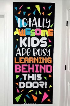 15 Fun Ways to Decorate Your Classroom Door for Back-to-School Talk about a totally awesome door. Make it a party, and have students wear their best attire. School Door Decorations, Diy Classroom Decorations, Classroom Displays, Classroom Organization, Decorating Ideas For Classroom, 80s Theme Decorations, Class Decoration Ideas, New Classroom, Kindergarten Classroom