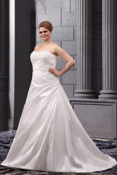 Plus Size White Satin Chapel Train Sweetheart Wedding Dress