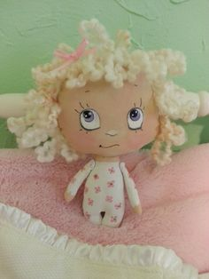 """Sweetie PIe 5 1/2"""" tall.  Cloth hand painted. My newest creation for 2014."""