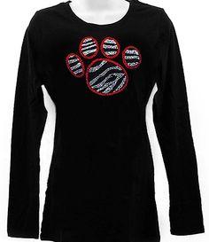 Rhinestone RED PAW PRINT ZEBRA Long Sleeve Shirt