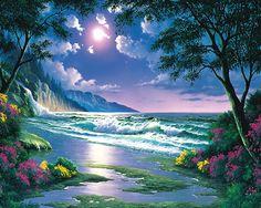 La #luce# è sia la mia tecnica principale che il simbolo di #Dio# che dà la vita, la #guarigione# naturale. La luce della #luna# o del #sole# bagnano tutti i miei quadri. La luce rappresenta la vita , l'essenza di tutte le cose viventi, lo spirito della #natura#.I paesaggi #hawaiani# di #John# #Al# #Hougue#
