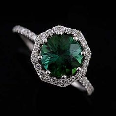 14K White Gold Cut Down Micro Pave Diamond Green Tourmaline Octagon Halo Ring