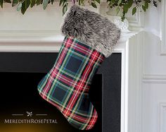Fur Christmas Stocking, Fur Stocking, Fur Stockings, Faux Fur Christmas Stocking, Faux Fur Stocking, Plaid with Fur Christmas Stocking