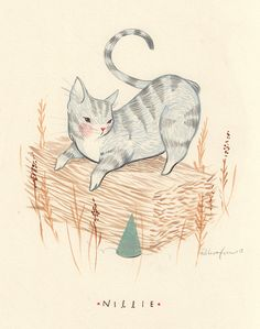 Nillie - cat drawing by Rebecca Green