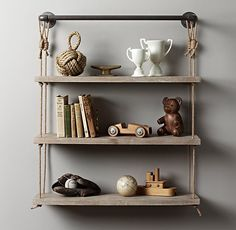 "Industrial Pipe & Rope Shelf - 36"" Weathered White"