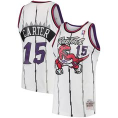 87014af90 Men s Toronto Raptors Vince Carter Mitchell   Ness White 1997-98 Hardwood  Classics Swingman Jersey