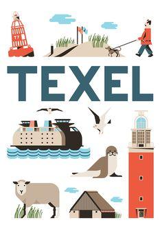 Alles wat je kan vinden op Texel staat op het plaatje. Hij viel op vanwege de kleuren en de tekst grote