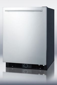 FF590SSHH - Frost-free all-refrigerator for built-in or freestanding use, with black cabinet and stainless steel door