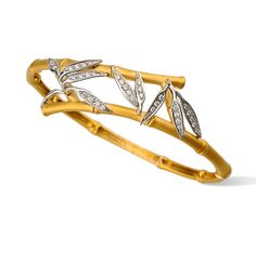 Bambú bracelet in yellow and white gold with diamonds by Carrera y Carrera