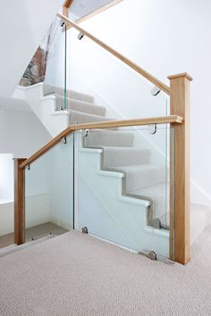 White oak staircases 2 paint out some of the oak in white - Glass and wood railing design ...