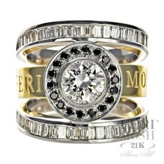 Cosmos Ring - two tone white and yellow gold marvel, genuine black and white diamonds, will include a customized IGI/FERI MOSH appraisal. Cute Jewelry, Bridal Jewelry, Most Beautiful Engagement Rings, Diamonds And Gold, Quality Diamonds, Jewelry Companies, Luxury Jewelry, Women's Accessories, Jewelry Collection