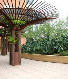 Modern Outdoor Trellis With Bamboo Roofs : Decorative Modern . Modern Outdoor Trellis With Bamboo Wisteria Trellis, Wisteria Pergola, Pergola Swing, Pergola Kits, Outdoor Buildings, Outdoor Structures, Bamboo Roof, Trellis Design, Garden Spaces