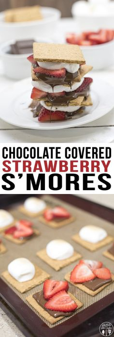 Chocolate Covered Strawberry S'mores - The addition of strawberries to your smores makes them an even more tasty summer time treat! Or make them year round in your oven! Walmart #LetsMakeSmores #ad