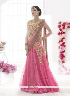 Distinctive Net Pink Lehenga Saree
