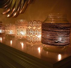 diy votives with lace.
