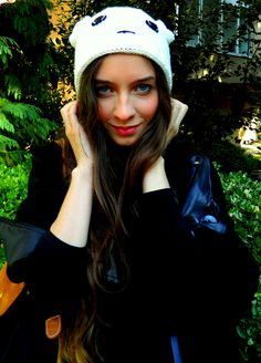 Autumn is on the way with my panda face beanie hat!!!