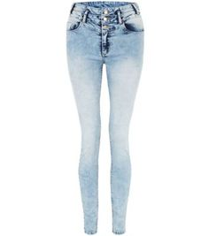 Light Blue Mottled Denim High Waisted Skinny Jeans