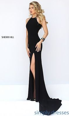 Shop Sherri Hill long floor-length open-back dresses at Simply Dresses. Long formal gowns with open backs and side slits.