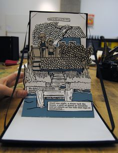Pop-up book by Hannah Batsel about her grandma's old house, which got destroyed in a hurricane years ago. I loved that house as a kid, and I wanted to make a book for both it and my grandma.