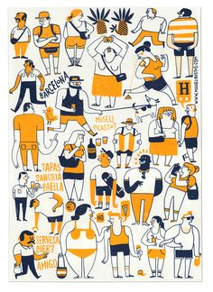 Tourists, hipsters and other creatures. Screen prints for Mitte Barcelona gallery exhibition. 2014.