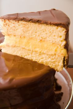 Boston Creme Pie Cake - this is my favorite cake - put in in a pie shell and it would be just like Marie Callenders restaurant