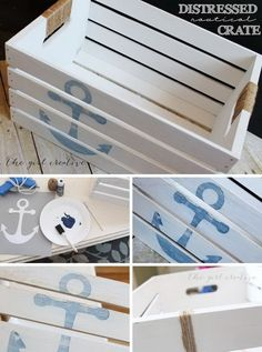 DIY Distressed Nautical Crate. Make this cute nautical crate with a few supplies and little bit of time!