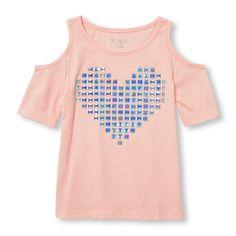 Girls Short Sleeve Embellished Graphic Cold-Shoulder Top