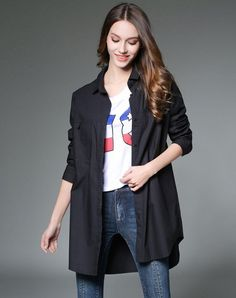 VIPme (VIPSHOP Global) - GUSTAVO ARANGO Black Mid-Length Plain Lapel Shirt - AdoreWe.com