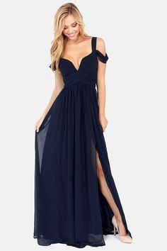 Bariano Ocean of Elegance Navy Blue Maxi Dress at LuLus.com! I don't even know what I'd wear this to, but damn it's gorgeous