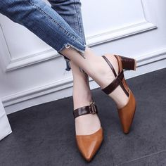 878fec6a78dd4 Fashion Elegant Casual Pointed Toe Slippers Sandals Med Chunky Heels