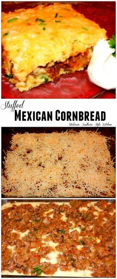 Stuffed Mexican Cornbread - This meaty stuffed Mexican cornbread is filled with taco seasoned ground beef . It's great alongside a bowl of soup, a taco salad or to dress-up a bowl of plain pinto beans.