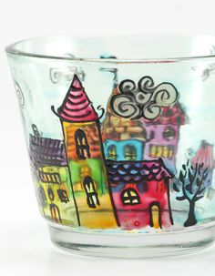 Hand Painted Glass Candle Holder With Town Motif