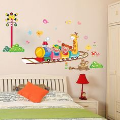 details about diy happy train removable vinyl wall sticker mural room decoration decor decal