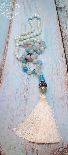 Ivory Silk Tassel Necklace, Pastel Gemstones Necklace, Pastel Colourful Boho Chic Necklace, Gift for her by VintageRoseGallery Tassel Jewelry, Etsy Jewelry, Jewelry Art, Tassel Necklace, Jewelry Gifts, Beaded Jewelry, Handmade Jewelry, Beaded Bracelets, Jewelry Ideas