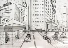 https://www.behance.net/gallery/59508015/I-love-sketching ,hand made sketch, sketch architecture, sketch perspective, balck and white, black marker, modern city, city street sketch